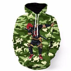Mens Camo Hooded Sweatshirts Comic Deadpool Anime Dragon Ball Goku Naruto Print 3D Hoodies Pullovers Male Harajuku Hoodie
