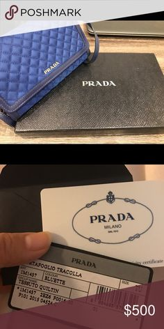 Brand new! Prada handbag Brand new! Quilted Nylon & Soft Calf Leather Crossbody Shoulder Wallet Bag 1M1437, Blue. New, never used Prada Quilted Nylon and Soft Calf Leather Crossbody Shoulder Wallet Bag 1M1437, Blue : PRADA Condition : New with tags 1M1437 Color : NERO Group Name : SAFFIANO METAL Bag Size : 17 x 10 x 2.5 (cm) / 6.7 x 3.9 x 0.9 (in) Feature Saffiano Metal Adjustable/removable shoulder strap Snap closure 6 credit card slots A coin compartment with zipper 100% Authentic…