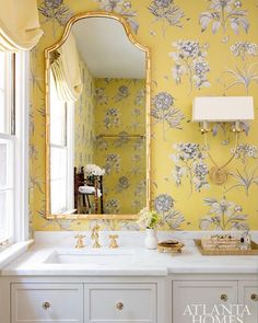 Home Tour: Elevated Charm In Buckhead, Georgia gold bamboo mirror in powder room with yellow floral wallpaper wallpaper 54043264265863935 Bathroom Interior Design, Home Interior, Home Design Decor, House Design, Home Decor, Modern Interior, Yellow Bathroom Interior, Design Interiors, Apartment Interior