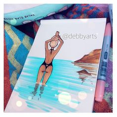 Sketching at the beach ✏️ #summer #art #bikini #body #girl #draw #drawing #sketch #illustration #debbyarts