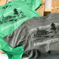 What could be better than living in a log cabin with peeling waves out front. Our Cabin Tee comes in Heather Grey and Heather Grass. Available now at specialty surf and outdoor shops and hippytree.com. #tuesdaystee #surfandstone