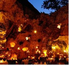 Ali Baba's Cave Restaurant - Diani Beach near Mombasa - Kenya - Mombasa is situated within naturally formed coral caves, close to the Beach. The roof opens so you can dine under the stars. Very romantic.