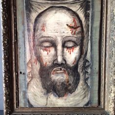 Antique Oil Painting Veil Veronica Holy Face wood panel Jesus Christ Icon Relic