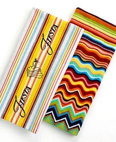 Fiesta Kitchen Towels, Dual Purpose Logo or Zig Zag Stripe - Fiesta Table Linens - Dining & Entertaining - Macy's