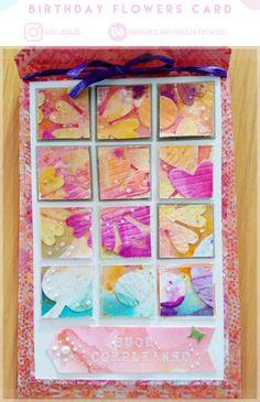 Birthday flowers card.   #flowers#birthday#scrapbook#card#paper#handcrafted#handmade#craft#spring#art#paperart#pink#yellow#pastel