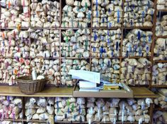 Bead wall at Paris' oldest embroidery studio Maison Lesage Tambour Beading, Tambour Embroidery, Couture Embroidery, Silk Ribbon Embroidery, Hand Embroidery, Embroidery Ideas, Bead Studio, Selection Boxes, Diy Wall Decor