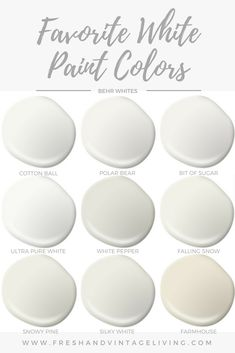 Favorite White Paint Colors - Fresh & Vintage Living I like the bit of sugar one or cotton ball Off White Paint Colors, Behr Paint Colors, Off White Paints, Best White Paint, Bedroom Paint Colors, Exterior Paint Colors, Paint Colors For Home, Wall Colors, House Colors