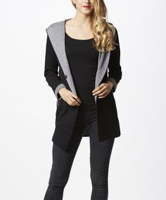 Look at this Simply Couture Black & Heather Gray Contrast Hooded Cardigan on #zulily today!
