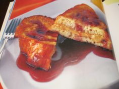 Peanut-butter and Jelly French Toast.    http://abcnews.go.com/GMA/Recipes/story?id=6646845#.T-tkTNU8DTo