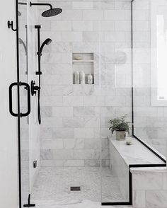 Black Bathroom Design Inspiration - Boxwood Ave - - Take a peek at the design plan for our latest bathroom remodel: a black bathroom with wood vanity and gorgeous subway tile with splashes of marble! Best Bathroom Tiles, Bathroom Tile Designs, Bathroom Interior Design, Bathroom Black, Master Shower Tile, Shower Niche, Bathroom Shower Tiles, Bathroom Shower Remodel, Small Bathroom With Bath