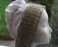 A gold jeweled 16th century Tudor or Elizabethan coif by TudorCourtClothing on Etsy $23