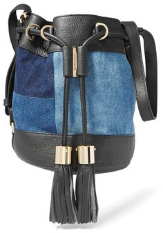 See by Chloé Vicki Patchwork Denim and Textured-Leather Bucket Bag