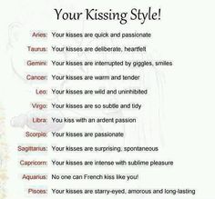 Zodiac Signs Kissing Style! Cancer Zodiac Sign ♋ warm and tender kisses.