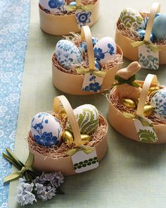 Brighten undyed Easter eggs with stylized patterns from paper napkins.
