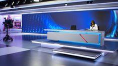 Sky News Arabia Broadcast Set Design Gallery Reception Desk Design, Reception Areas, Tv Set Design, Stage Design, Tv Sets, Sky News, New Set, Game Room, Interior Architecture