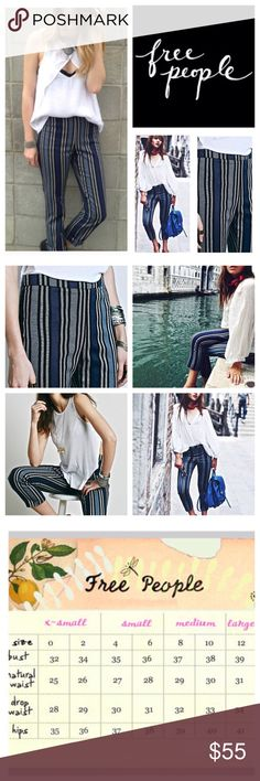 "Free People Stripe Linen Blend Crop Pants.  NWOT. Free People Stripe Linen Blend Cropped Pants, 55% linen, 42% cotton, 3% spandex, washable, 27"" waist, 10"" front rise, 15"" back rise, 26"" inseam, 14"" leg opening all around, high waist, banded flat waist, concealed side zip closure, measurements are approx.  New without tag, never worn.  NO TRADES Free People Pants Ankle & Cropped"