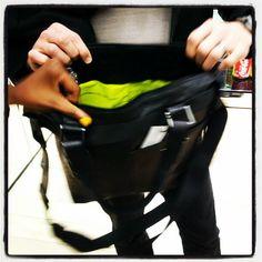 neon lined handbag - no more lost keys...