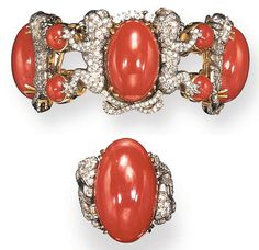 A SET OF CORAL AND DIAMOND JEWELRY  Comprising a bracelet, the flexible band composed of oval cabochon coral links, each within a frame of pavé-set diamond lions, joined by two round cabochon coral links; and a ring en suite, mounted in 18K yellow and white gold