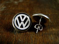vw Volkswagen logo Post earrings USA MADE & SHIPPED Silver plated post earrings wedding birthday Gif
