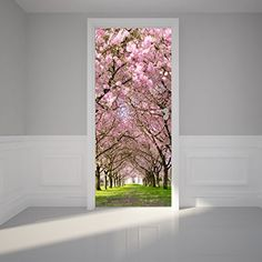 """Door Wall Sticker Cherry Blossoms Place - Self Adhesive Peel & Stick Repositionable Fabric Mural 31""""w x 79""""h (80 x 200cm) RoyalWallSkins"""