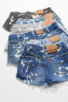 Vintage Levi's Bleached Denim Cutoff Shorts Distressed Highwaist CUSTOM High Cut Jean Shorts