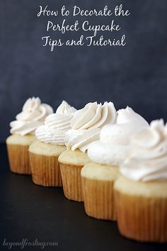 How to decorate the perfect cupcake by Beyond Frosting. Video tutorial and visual frosting guide included.