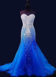The Perfect Prom Dress Wholesale Beautiful Blue Tulle Prom Dress With Sparkling Crystals Beading 2015 Prom Mermaid Dresses Sweetheart Sleeveless Tulle Pageant Gown Prom Dresse From Olesa, $158.33| Dhgate.Com
