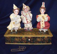 RARE Antique German 3 Clown Figures Dolls w Instruments Automation Music Box | eBay