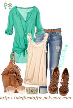 """Teal Green & Peach"" by steffiestaffie on Polyvore to cute! She is one of my FAV poly creators"