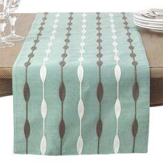 Latitude Run Atropos Modern Embroidery Table Runner Color: Aqua