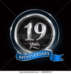 Celebrating 19 years anniversary logo. with silver ring and blue ribbon.
