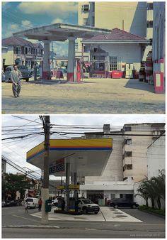 Ontem e hoje: posto de gasolina na Mooca em 1950 e em 2014.