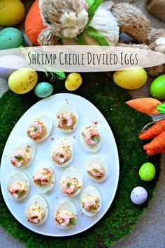 Spice up every day Deviled Eggs, and make my delicious and easy recipe for Shrimp Creole Deviled Eggs. Sure to be a new family favorite! Easter Recipes, Egg Recipes, Yummy Recipes, Easter Food, Easter Party, Chicken Appetizers, Appetizers For Party, Shrimp Deviled Eggs, Creole Spice