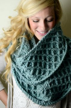 Wool Long Infinity Scarf / Cowl Scarf -- Diamond Cable Crochet