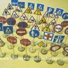 Make your own mini traffic signs for toy cars/trucks