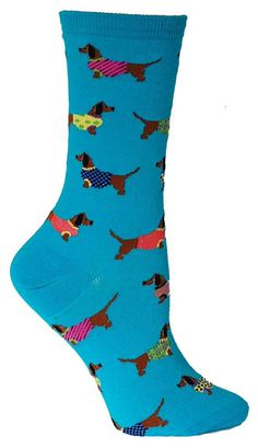 Crew length sock with dachshunds wearing sweaters. Available in Mimosa Yellow or Blue Lagoon. Fits women's shoe size 5-10