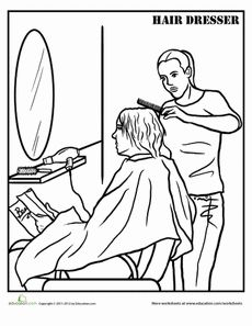 hairdresser coloring page