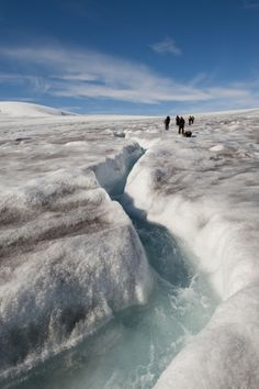Canadian Arctic Nunavut Expedition to the Baffin Island.Walking on the glacier.