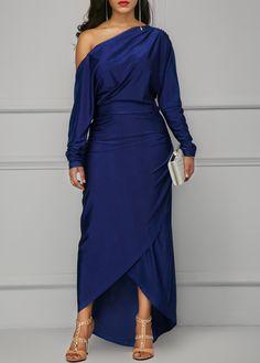 Long Sleeve Skew Neck Navy Blue Dress on sale only US$35.37 now, buy cheap Long Sleeve Skew Neck Navy Blue Dress at liligal.com