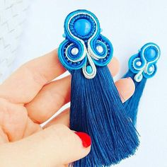 Blue soutache earrings with tassels
