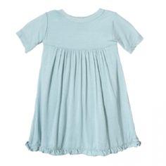 Solid Short Sleeve Swing Dress in Jade