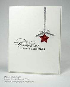 CAS recessed star Christmas card - red glitter paper - bjl