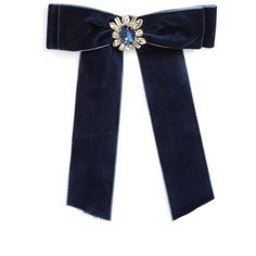 Women's Cara Crystal Velvet Bow Pin ($20) ❤ liked on Polyvore featuring jewelry, brooches, accessories, brooch, acc, velvet, navy, crystal brooches, velvet jewelry and crystal stone jewelry