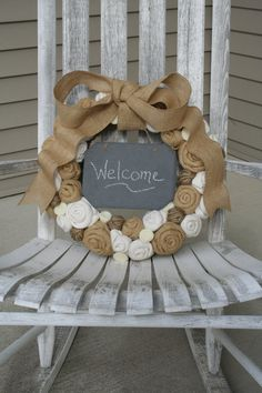 Jute Yarn Wreath/Chalkboard/Everyday/Burlap Flowers/Roses/Felt Rosettes/Yarn Balls/Back to School/Wedding/Winter/Spring