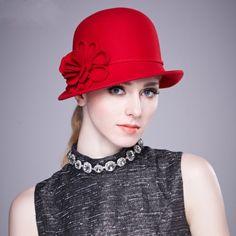 Vintage flower bowler hat for women trilby hat Crimping
