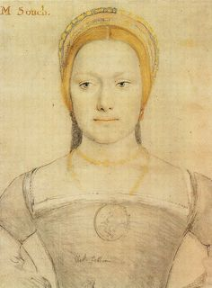 Anne or Mary Zouche by Hans Holbein. Anne and Sir George Zouche made their principal home at Codnor Castle, Derbyshire and they had eight children. Bess of Hardwick was raised by Anne in her household from about 1532?