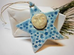 Moon and Star - Ceramic Ornament. $6.00, via Etsy.
