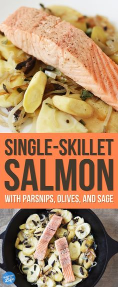 Single-Skillet Poached Salmon with Parsnips, Olives, and Sage