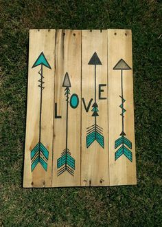 Arrow Love Pallet Art by DomestiKATEd101 on Etsy, $25.00