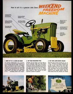 John Deere 110 Lawn and Garden Tractor 1966 John Deere Garden Tractors, Yard Tractors, Lawn Mower Tractor, Garden Tractor Attachments, Tractor Pictures, John Deere Equipment, Riding Lawn Mowers, Vintage Tractors, Old Ads
